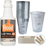 1 Quart Flood Floetrol Additive, 20x 10-Ounce Disposable Graduated Clear Plastic Cups for Mixing Paint, Stain,...