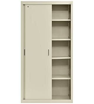 Elite Storage Cabinet W Sliding Door And Adjustable Shelves (Putty)