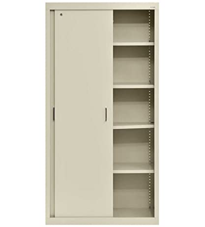 Amazon.com: Elite Storage Cabinet w Sliding Door and Adjustable ...