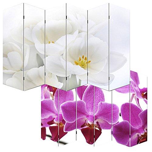 Paravent - cloison de séparation M68 - 6 pans - 240x180cm - motif orchidée