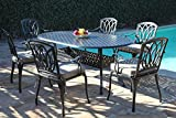 Florence Collection Cast Aluminum Outdoor Patio Furniture 7 Piece Oval Dining Set CBM1290 Review