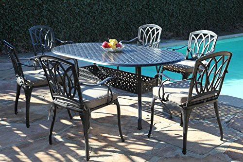 - Florence Collection Cast Aluminum Outdoor Patio Furniture 7 Piece Oval Dining Set CBM1290