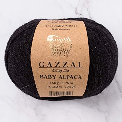 5 Skein (Pack) Total 8.8 Oz. Gazzal Baby Alpaca Each 1.76 Oz (50g) / 174 Yrds (160m) Soft, 2 : Fine-Sport, 55% Baby Alpaca 45% Superwash Merino Fine, Black - 46000