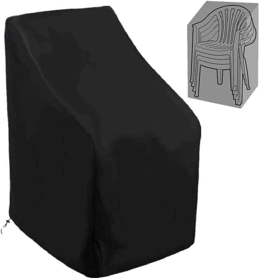 Patio Stackable Chair Covers 420D Waterproof Outdoor High Back Stackable Dining Chair Cover Patio Furniture Protector Fits up to 35 W x 35 D x 35/47 H Inches