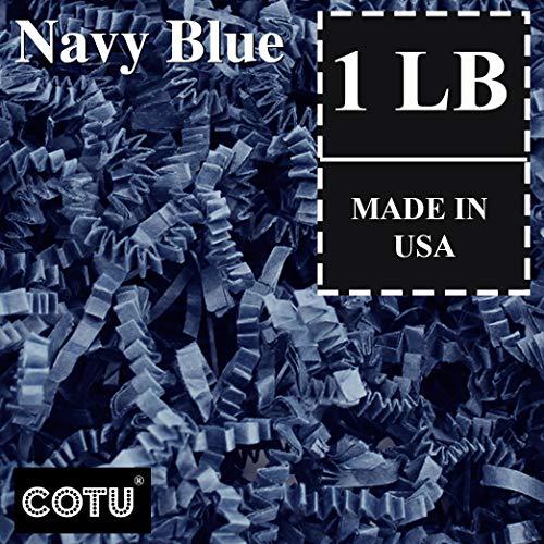 1 LB Navy Blue Crinkle Shred Gift Basket Shred Crinkle Paper Filler Bedding by COTU (16 oz)