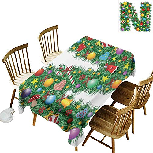 W Machine Sky Stain-Resistant Tablecloth Letter N Capital N in Green Color with Coniferous Leaves Bells Bowknots Hearts and Stars W60 xL120 for Family Dinners,Parties,Everyday Use