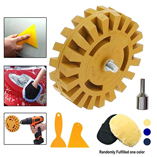 Diriway Decal Remover Rubber Eraser Wheel Tool with Drill Adapter 4 inch Drill Attachment 2 Pieces Hanging Boards And 1Piece Bear Paw Rag For Removing Pinstripes, Stickers, Double Side Adhesive Vinyl (Eraser Decal)