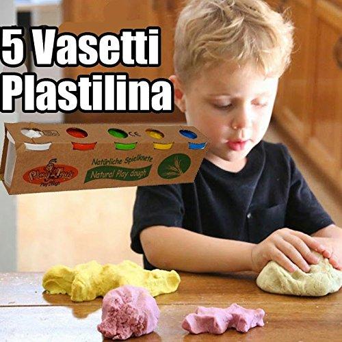 Bakaji Plastilina Naturale 5 Barattoli Vasetti da 140gr Dough Set Plastichina Modellante