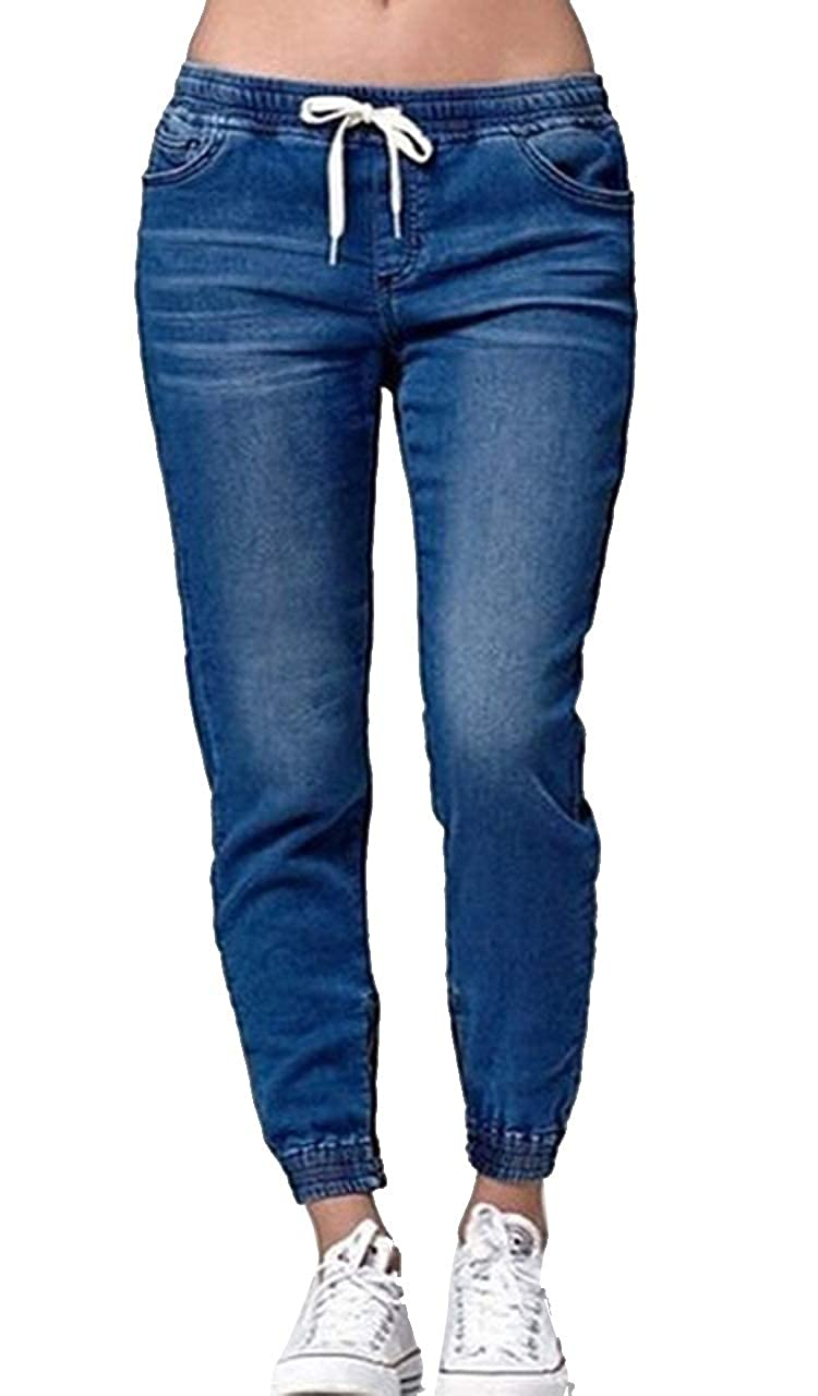 Comaba Womens Elastic Bottom Silm Fit Washed Oversize Pants Jeans