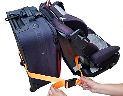 Car Seat Travel Belt | Car Seat Travel Strap to Convert Your Car Seat and Carry-on Luggage into an Airport Car Seat Stroller & Carrier - Bright Orange and Heavy Duty - Includes Bonus E-Book Gift