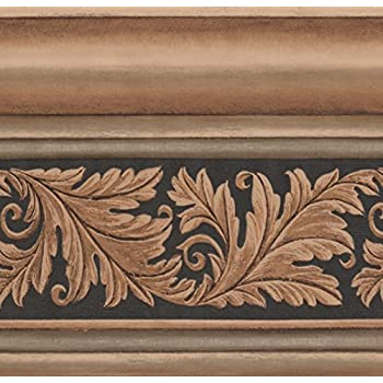 Gold victorian crown molding damask vine black wallpaper border retro design roll 15 39 x 10 - Crown molding wallpaper ...