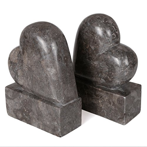 Creative Home 2 Piece Genuine Charcoal Marble Stone Heart Shapped Bookends Set