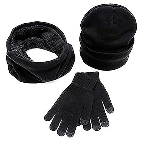 Unisex-Set Mütze, Schal und Handschuhe von ease Home - Thermokleidung für den Winter, schöne warme Strickmütze, Schal als Nackenwärmer und Touchscreen-geeignete Handschuhe grau Unisex-Set Mütze