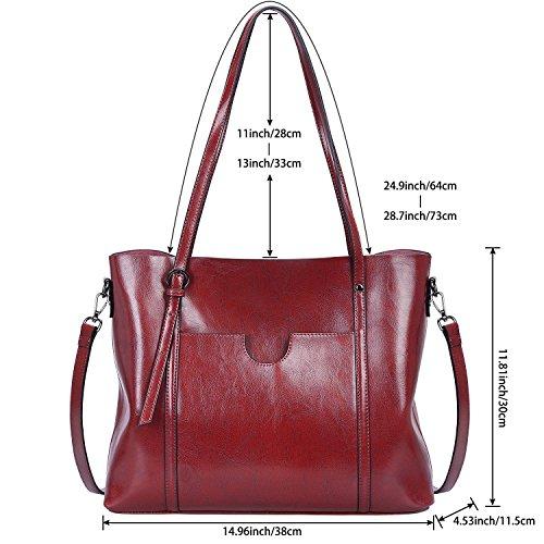ZONE Tote Bag Messenger Wine Women's Handbag Shoulder Vintage Genuine 3 Fashion S Bag Handbag Way Leather Red red Wine fpRxwfCq