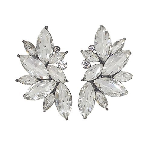 Xdaccgo Luxury Leaves Shape Glass Cluster Crystal Teardrop Flower Design Studs Earrings (Clear Crystal Flower Earrings)
