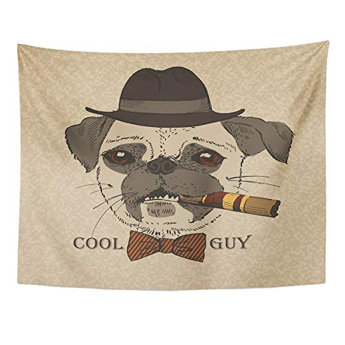 Guy Gangster (Emvency Tapestry Wall Hanging Polyester Fabric Animal Portrait of Pug Dog Cigar Cool Guy Gangster Look Hipster for Bedroom Living Bedspread Room Dorm Decorations 60x80 Inches)