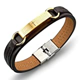 The Holy Buy Charm Black Brown Leather Bracelet Spanish Bible Lord's Prayer Religious Wristband, 8 Inch