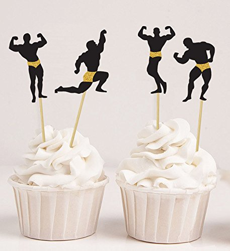 Darling Souvenir, Bachelorette Party cupcake Toppers Body Builder Silhouette Cake Decoration Sports - Pack Of 20 (4 Designs)