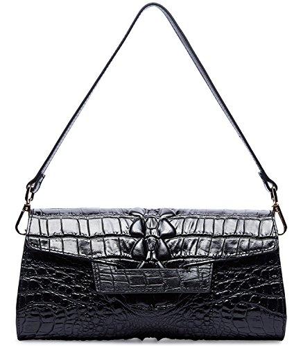 - PIFUREN Women Crocodile Leather Clutch Designer Crossbody Shoulder Handbag for Party M1102 (One Size, Black)