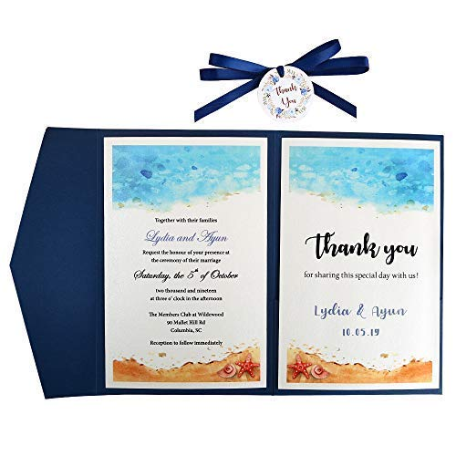 (Doris Home Tri-fold wedding invitations for Bridal Shower, Dinner, Beach theme, Party with Ribbon and Tags, DH0001 (Blue, 25pcs Blank))