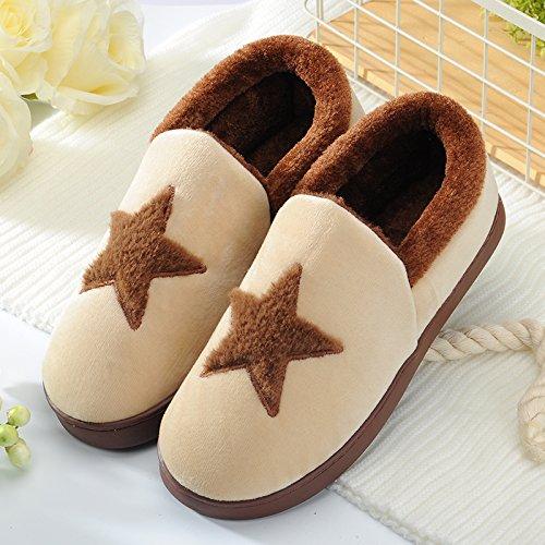 Y-Hui inverno cotone maschio pantofole in casa arredamento interno femmina scarpe caldo inverno di spessore non inferiore di slittamento paio di stivali,40-41 (Fit per 39-40 piedi),caffè (Xing Xing)