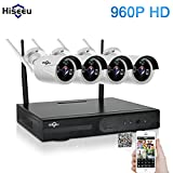 Hiseeu Wireless CCTV System 960P 4ch Powerful Wireless 1080P NVR, 4PCS 1.3Megapixel Wireless Weatherproof Bullet IP Cameras,Plug and Play,P2P,App,Home Security System