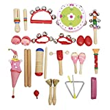 D DOLITY 22 pcs Musical Instrument Set, Toddler, Kids, Children, Students Music Toy kit, for Early Musical Development and Educational Learning - Red, as described