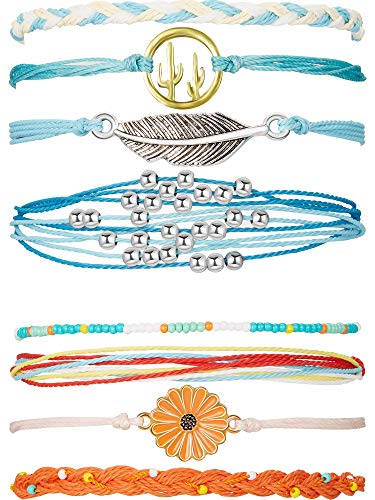 2 Sets Braided Rope Bracelets Handmade Sunflower Bracelets Beaded Boho Waterproof Bracelets Friendship Bracelets for Women Girls (Blue Yellow, Blue)]()