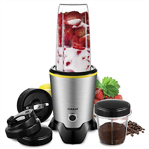 CHULUX Personal Smoothie Blender Coffee Grinder with Blending and Chopping Blades for Shakes,Fruit Juice,Baby Food,Vegetable and Beans,35+15 OZ BPA-Free Bottles with Travel Lids,1000W