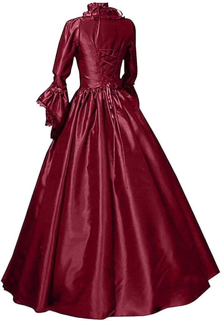 Moonhomen Medieval Dress for Women Renaissance Vintage Retro Long Sleeve Cosplay Lace Floor Length Dresses: Clothing