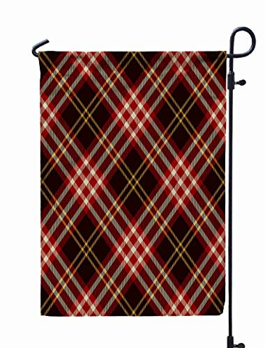 GROOTEY Welcome Outdoor Garden Flag Home Yard Decorative 12X18 Inches Tartan Pattern Background Red Black Gold White Plaid Flannel Shirt Patterns Trendy Tiles Double Sided Seasonal Garden Flags -