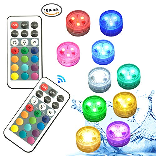Melon Boy Mini Submersible Led Lights,Waterproof Pool Lights with Remote Control for Vase,Pond,Home Party Decoration 10packed ()