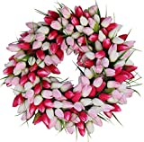 pictures of front doors The Wreath Depot Pink and White Tulip Front Door Wreath, 19 Inch, Stunning Silk Front Door Wreath, Valentines Day Wreath, Extremely Full Design, Beautiful White Gift Box Included
