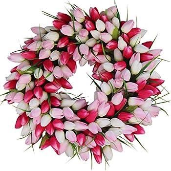 Amazon Com The Wreath Depot Blush Tulip Front Door Wreath 19 Inch