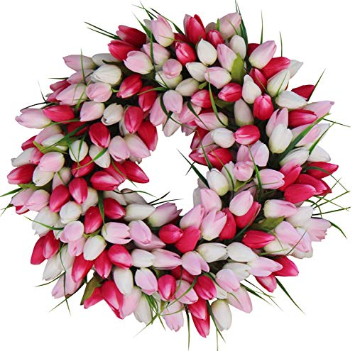 The Wreath Depot Pink and White Tulip Front Door Wreath, 19 Inch, Stunning Silk Front Door Wreath, Valentines Day Wreath, Extremely Full Design, Beautiful White Gift Box Included -