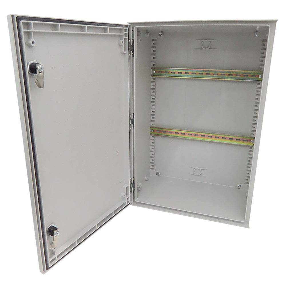 Altelix 24x16x9 Industrial DIN Rail FRP Fiberglass NEMA 3X Box Weatherproof Enclosure with Hinged Lid & Quarter-Turn Latches