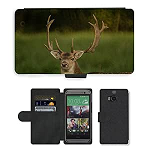 Hot Style Cell Phone Card Slot PU Leather Wallet Case // M00117038 Deer Antlers Nature Mammal Animal // HTC One M8