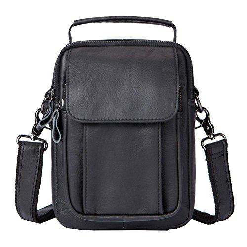 Moda Il Gtuko Mens Pelle Nero Di Crossbody Messenger Lembo Cerniera Bag Uomini Piccola Tracolla Sacchetti Vera Borsa A Degli 7910 wn0q4xUp
