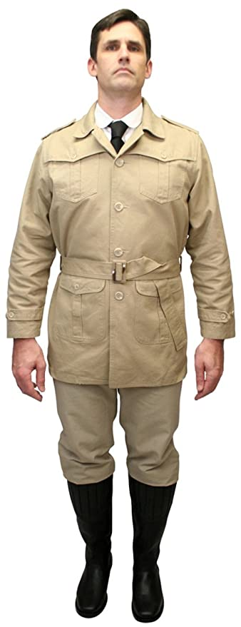 1930s Men's Costumes: Gangster, Clyde Barrow, Mummy, Dracula, Frankenstein  Cotton Safari Bush Jacket $59.95 AT vintagedancer.com