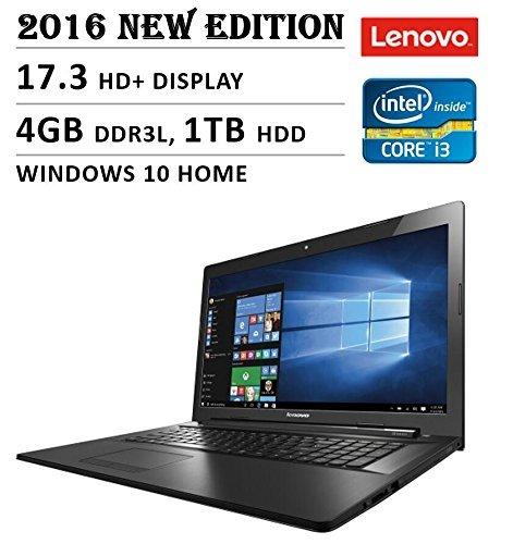 2016 Lenovo Premium High Performance 17.3-inch HD+ Laptop, Intel Core i3-5020U 2.3 GHz, 4GB DDR3L Memory, 1TB HDD, DVD RW, Bluetooth, Webcam, WiFi, HDMI, Windows 10, Black
