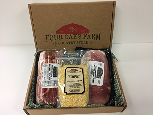 Country Breakfast Gift Box - Hickory Smoked Bacon - Country Ham - Stone Ground Grits - Reusable Cooler Bag - Free Priority Shipping (Ham Peppered)