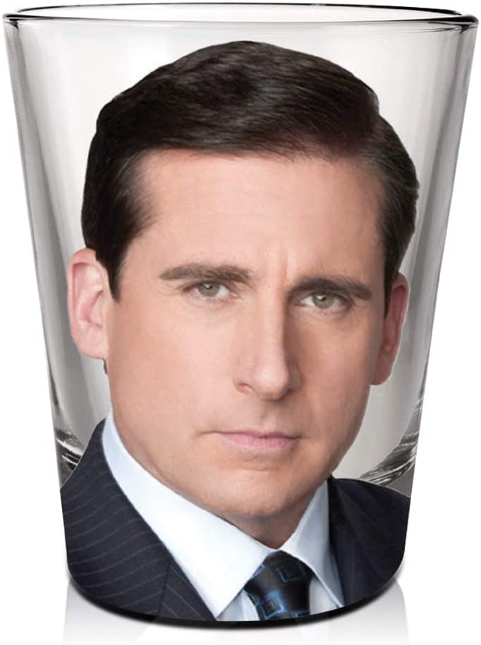 The Office Michael Scott Shot Glass [CLEAR 1.5oz] Vodka, Tequila, Whisky and Liqueurs Shot Glass, Heavy Base Shot Glass, By Just Funky