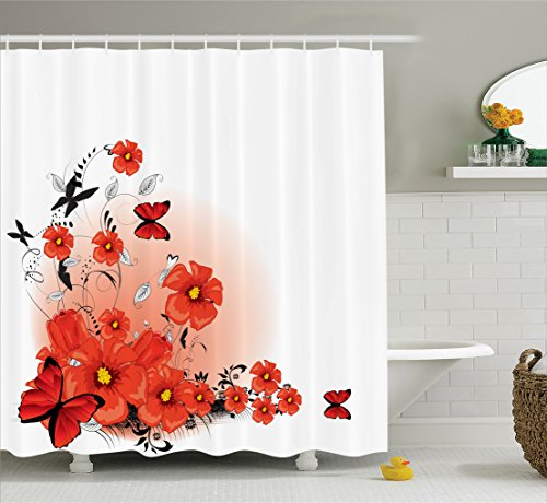 - Ambesonne Poppy Decor Shower Curtain Set, Floral Flash Background with Butterflies Spring Season Hope and Inspiration Theme, Bathroom Accessories, 84 Inches Extralong, Pomegranate Black
