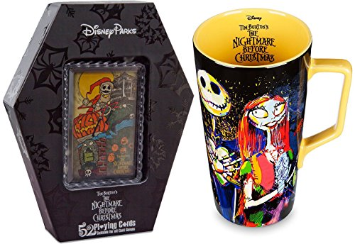 The Nightmare Before Christmas Collection 52 Playing Cards + Collectible Jack Skellington and Sally Art Latte Mug 20 oz.