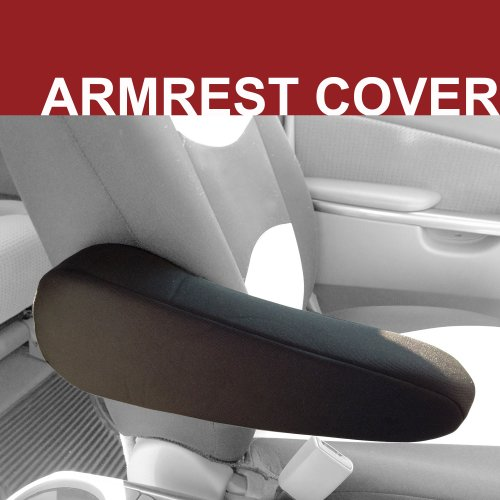FH GROUP FH1051-1 Flat Cloth Auto Armrest Cover For Car, Trucks, Vans, SUV Black, ONLY 1 INDIVIDUAL Arm Rest Cover