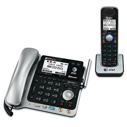 AT&T TL86109 DECT 6.0 2-Line Expandable Corded/Cordless Phone with Bluetooth Connect to Cell, Answering System and Base Speakerphone, 1 Corded Handset and 1 Cordless Handset, Silver/Black Dect 6.0 Cordless Phone Systems