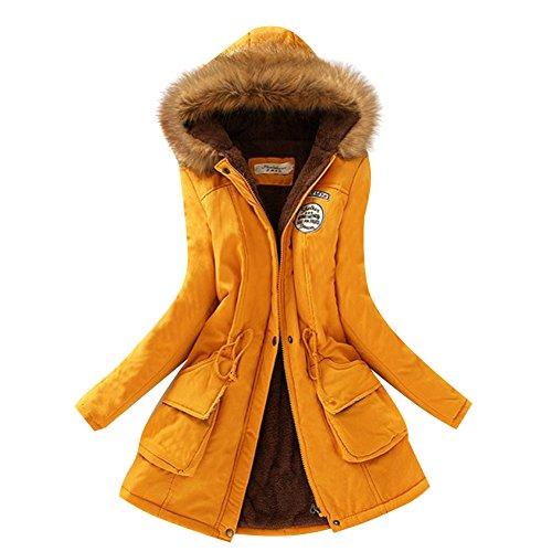 Aro Lora Women's Winter Warm Faux Fur Hooded Cotton-padded Coat Parka Long Jacket US 14 Yellow
