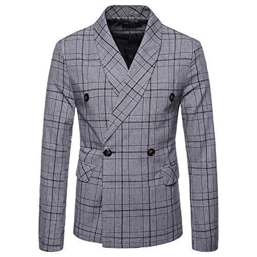 Mens Floral Dress Suit Double Breasted Stripes/Plaids Stylish Casual Blazer Jacket Light Gray