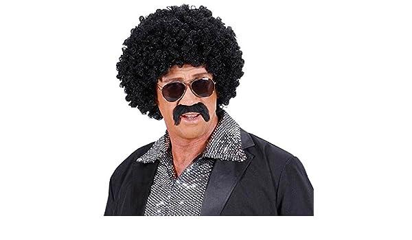 Peluca de pelo peluca Hombre Afro con bigote gafas de sol corta Movie 70: Amazon.es: Juguetes y juegos