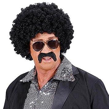 Peluca de pelo peluca Hombre Afro con bigote gafas de sol corta Movie 70